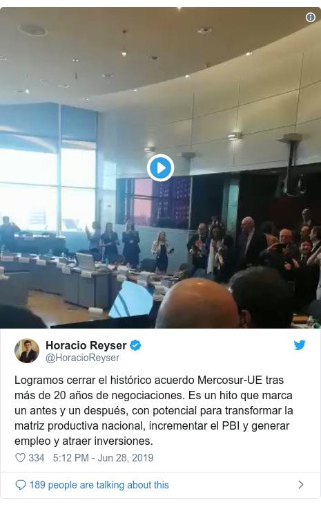 Twitter post by @HoracioReyser: Logramos cerrar el histórico acuerdo Mercosur-UE tras más de 20 años de negociaciones. Es un hito que marca un antes y un después, con potencial para transformar la matriz productiva nacional, incrementar el PBI y generar empleo y atraer inversiones.