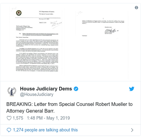 Twitter post by @HouseJudiciary: BREAKING  Letter from Special Counsel Robert Mueller to Attorney General Barr.