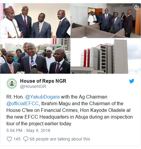 Twitter post by @HouseNGR: Rt. Hon. @YakubDogara with the Ag Chairman @officialEFCC, Ibrahim Magu and the Chairman of the House C'tee on Financial Crimes, Hon Kayode Oladele at the new EFCC Headquarters in Abuja during an inspection tour of the project earlier today.
