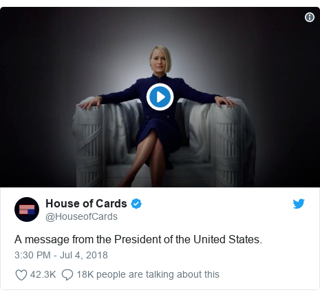 Twitter post by @HouseofCards: A message from the President of the United States.