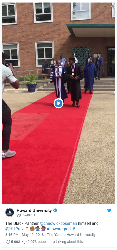 Twitter post by @HowardU: The Black Panther @chadwickboseman himself and @HUPrez17 ✊🏾🙅🏾‍♂️🙅🏾‍♀️ #howardgrad18