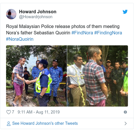 Twitter post by @Howardrjohnson: Royal Malaysian Police release photos of them meeting Nora's father Sebastian Quoirin #FindNora #FindingNora #NoraQuoirin