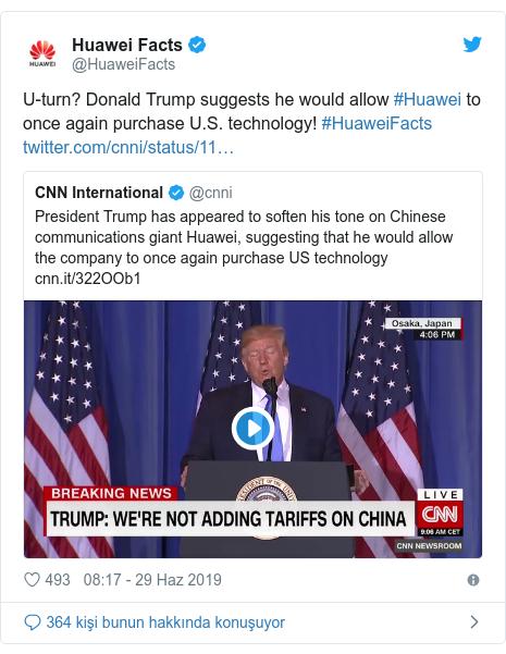 @HuaweiFacts tarafından yapılan Twitter paylaşımı: U-turn? Donald Trump suggests he would allow #Huawei to once again purchase U.S. technology! #HuaweiFacts