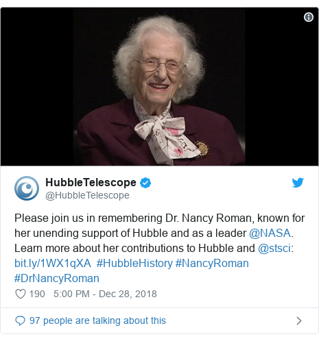 Twitter post by @HubbleTelescope: Please join us in remembering Dr. Nancy Roman, known for her unending support of Hubble and as a leader @NASA. Learn more about her contributions to Hubble and @stsci    #HubbleHistory #NancyRoman #DrNancyRoman