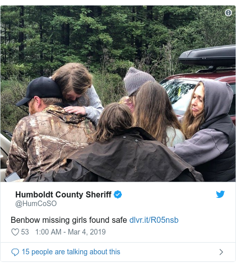 Twitter post by @HumCoSO: Benbow missing girls found safe