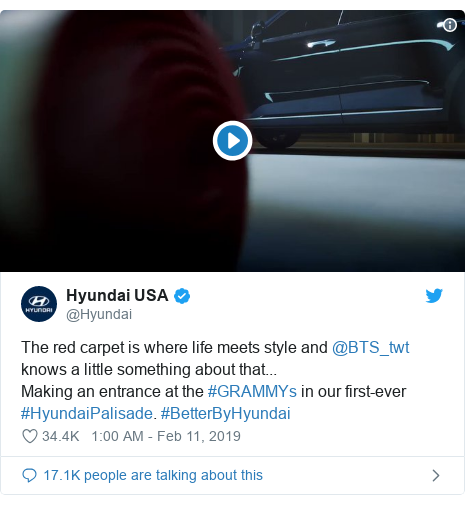 Twitter post by @Hyundai: The red carpet is where life meets style and @BTS_twt knows a little something about that...Making an entrance at the #GRAMMYs in our first-ever #HyundaiPalisade. #BetterByHyundai