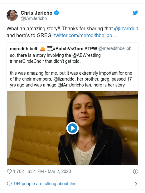 Twitter post by @IAmJericho: What an amazing story!! Thanks for sharing that @lizarrddd and here's to GREG!