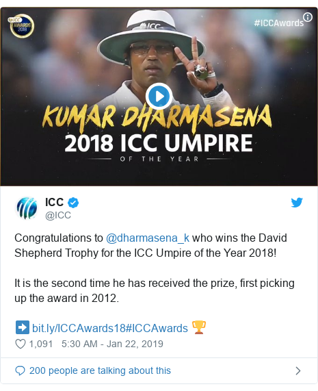 Twitter හි @ICC කළ පළකිරීම: Congratulations to @dharmasena_k who wins the David Shepherd Trophy for the ICC Umpire of the Year 2018!It is the second time he has received the prize, first picking up the award in 2012.➡️ #ICCAwards 🏆