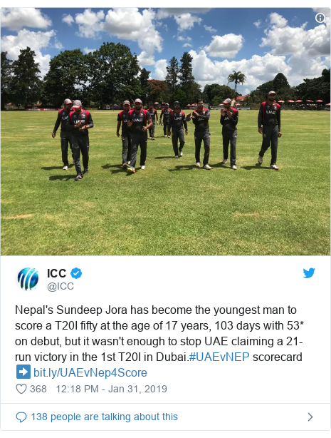 Twitter post by @ICC: Nepal's Sundeep Jora has become the youngest man to score a T20I fifty at the age of 17 years, 103 days with 53* on debut, but it wasn't enough to stop UAE claiming a 21-run victory in the 1st T20I in Dubai.#UAEvNEP scorecard ➡️