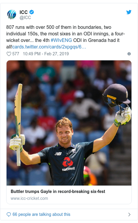 Twitter හි @ICC කළ පළකිරීම: 807 runs with over 500 of them in boundaries, two individual 150s, the most sixes in an ODI innings, a four-wicket over... the 4th #WIvENG ODI in Grenada had it all!