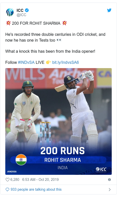 Twitter post by @ICC: 💥 200 FOR ROHIT SHARMA 💥He's recorded three double centuries in ODI cricket, and now he has one in Tests too 👀What a knock this has been from the India opener!Follow #INDvSA LIVE 👉