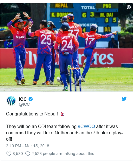 Twitter හි @ICC කළ පළකිරීම: Congratulations to Nepal! 🇳🇵They will be an ODI team following #CWCQ after it was confirmed they will face Netherlands in the 7th place play-off!