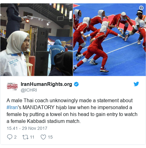 Twitter pesan oleh @ICHRI: A male Thai coach unknowingly made a statement about #Iran's MANDATORY hijab law when he impersonated a female by putting a towel on his head to gain entry to watch a female Kabbadi stadium match.
