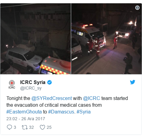 @ICRC_sy tarafından yapılan Twitter paylaşımı: Tonight the @SYRedCrescent with @ICRC team started the evacuation of critical medical cases from #EasternGhouta to #Damascus. #Syria