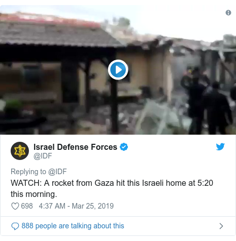 Twitter post by @IDF: WATCH  A rocket from Gaza hit this Israeli home at 5 20 this morning.