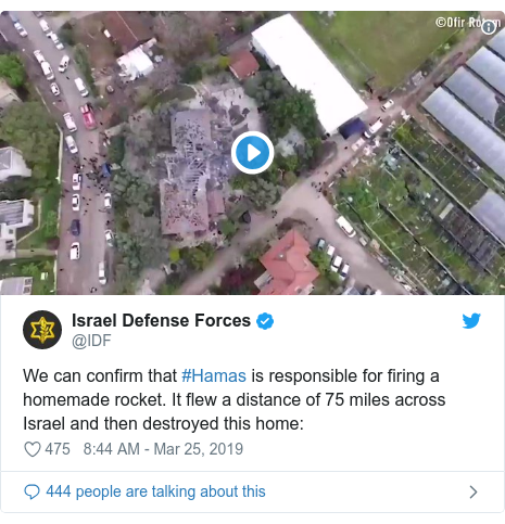 Twitter post by @IDF: We can confirm that #Hamas is responsible for firing a homemade rocket. It flew a distance of 75 miles across Israel and then destroyed this home