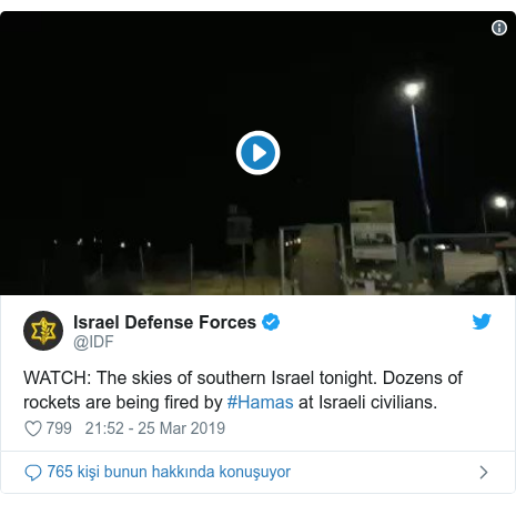 @IDF tarafından yapılan Twitter paylaşımı: WATCH  The skies of southern Israel tonight. Dozens of rockets are being fired by #Hamas at Israeli civilians.