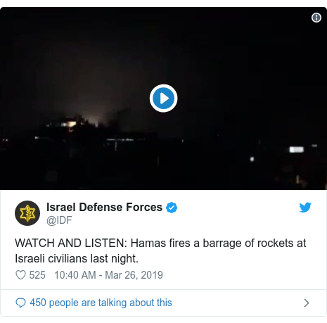 Twitter post by @IDF: WATCH AND LISTEN  Hamas fires a barrage of rockets at Israeli civilians last night.