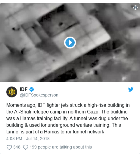 Twitter post by @IDFSpokesperson: Moments ago, IDF fighter jets struck a high-rise building in the Al-Shati refugee camp in northern Gaza. The building was a Hamas training facility. A tunnel was dug under the building & used for underground warfare training. This tunnel is part of a Hamas terror tunnel network