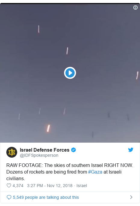 Twitter post by @IDFSpokesperson: RAW FOOTAGE  The skies of southern Israel RIGHT NOW. Dozens of rockets are being fired from #Gaza at Israeli civilians.