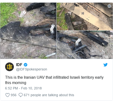Twitter post by @IDFSpokesperson: This is the Iranian UAV that infiltrated Israeli territory early this morning
