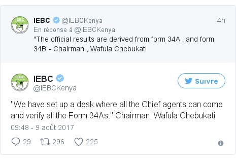 Twitter publication par @IEBCKenya