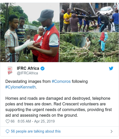 Ujumbe wa Twitter wa @IFRCAfrica: Devastating images from #Comoros following #CyloneKenneth. Homes and roads are damaged and destroyed, telephone poles and trees are down. Red Crescent volunteers are supporting the urgent needs of communities, providing first aid and assessing needs on the ground.