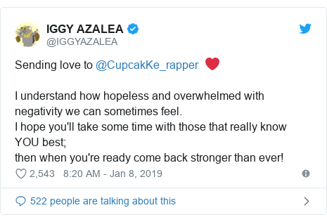 Twitter post by @IGGYAZALEA: Sending love to @CupcakKe_rapper  ❤️I understand how hopeless and overwhelmed with negativity we can sometimes feel. I hope you'll take some time with those that really know YOU best; then when you're ready come back stronger than ever!
