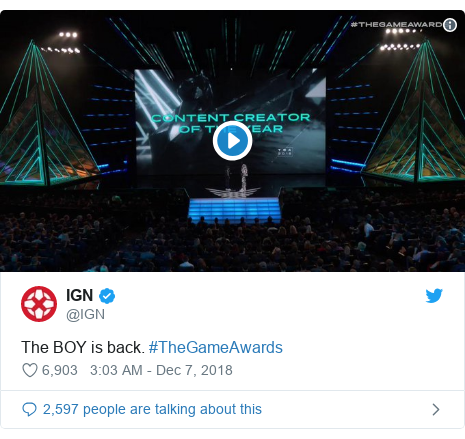 Twitter post by @IGN: The BOY is back. #TheGameAwards