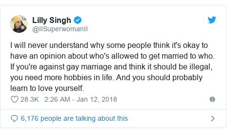 Twitter post by @IISuperwomanII: I will never understand why some people think it's okay to have an opinion about who's allowed to get married to who. If you're against gay marriage and think it should be illegal, you need more hobbies in life. And you should probably learn to love yourself.