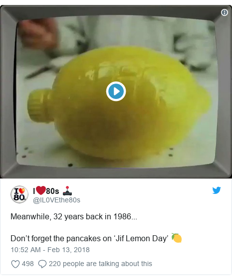 Twitter post by @IL0VEthe80s: Meanwhile, 32 years back in 1986...Don't forget the pancakes on 'Jif Lemon Day' 🍋