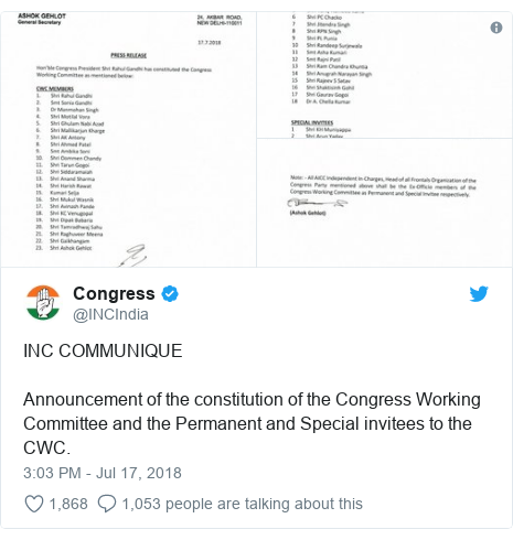 Twitter post by @INCIndia: INC COMMUNIQUEAnnouncement of the constitution of the Congress Working Committee and the Permanent and Special invitees to the CWC.