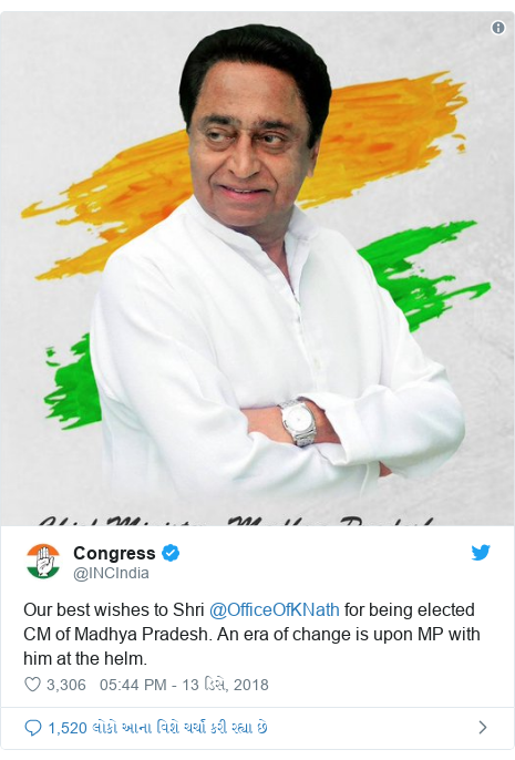 Twitter post by @INCIndia: Our best wishes to Shri @OfficeOfKNath for being elected CM of Madhya Pradesh. An era of change is upon MP with him at the helm.