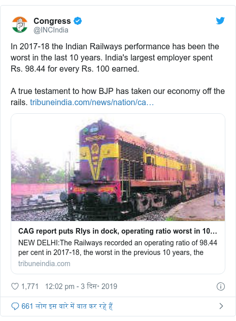 ट्विटर पोस्ट @INCIndia: In 2017-18 the Indian Railways performance has been the worst in the last 10 years. India's largest employer spent Rs. 98.44 for every Rs. 100 earned. A true testament to how BJP has taken our economy off the rails.
