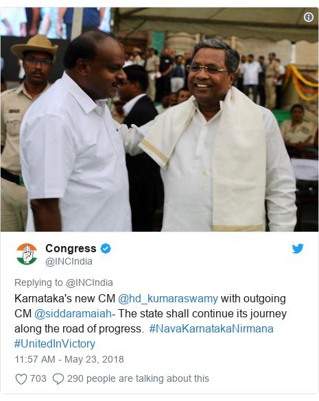 Twitter post by @INCIndia: Karnataka's new CM @hd_kumaraswamy with outgoing CM @siddaramaiah- The state shall continue its journey along the road of progress.  #NavaKarnatakaNirmana #UnitedInVictory