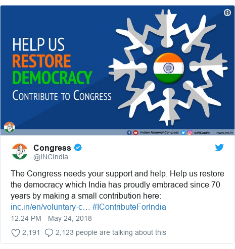 Twitter post by @INCIndia: The Congress needs your support and help. Help us restore the democracy which India has proudly embraced since 70 years by making a small contribution here   #IContributeForIndia
