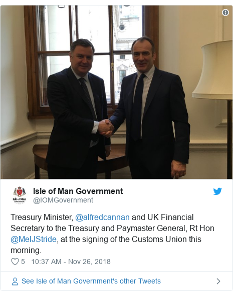 Twitter post by @IOMGovernment: Treasury Minister, @alfredcannan and UK Financial Secretary to the Treasury and Paymaster General, Rt Hon @MelJStride, at the signing of the Customs Union this morning.