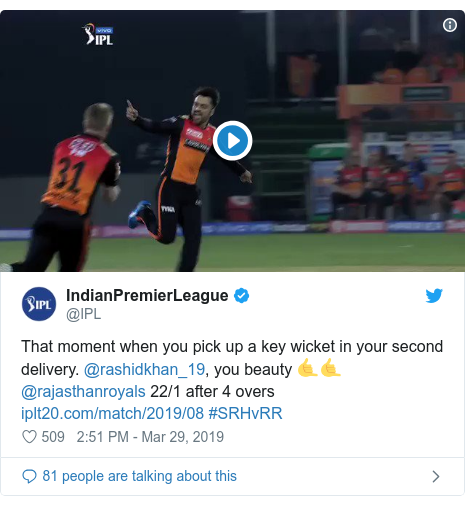 Twitter post by @IPL: That moment when you pick up a key wicket in your second delivery. @rashidkhan_19, you beauty 🤙🤙@rajasthanroyals 22/1 after 4 overs  #SRHvRR