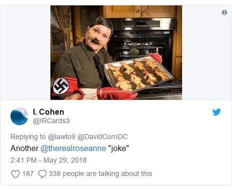 "Twitter post by @IRCards3: Another @therealroseanne ""joke"""