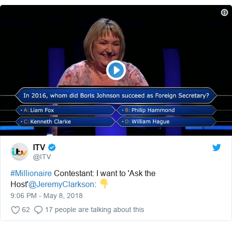 Twitter post by @ITV: #Millionaire Contestant  I want to 'Ask the Host'@JeremyClarkson  👇