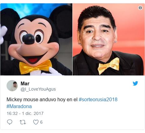 Publicación de Twitter por @I_LoveYouAgus: Mickey mouse anduvo hoy en el  #sorteorusia2018 #Maradona