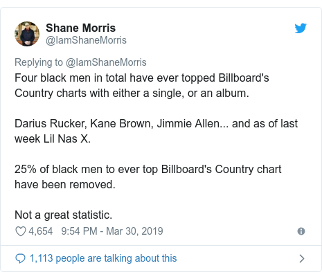 Twitter post by @IamShaneMorris: Four black men in total have ever topped Billboard's Country charts with either a single, or an album.Darius Rucker, Kane Brown, Jimmie Allen... and as of last week Lil Nas X.25% of black men to ever top Billboard's Country chart have been removed.Not a great statistic.