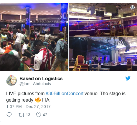 Twitter post by @Iam_Abdulaxis: LIVE pictures from #30BillionConcert venue. The stage is getting ready 🔥 FIA