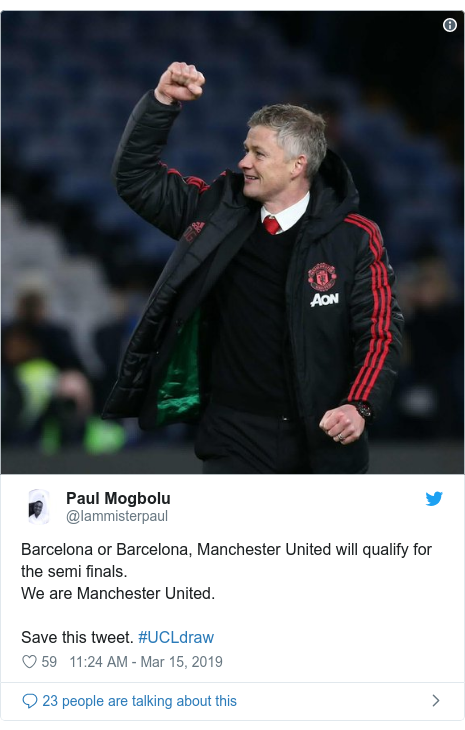 Twitter post by @Iammisterpaul: Barcelona or Barcelona, Manchester United will qualify for the semi finals. We are Manchester United. Save this tweet. #UCLdraw
