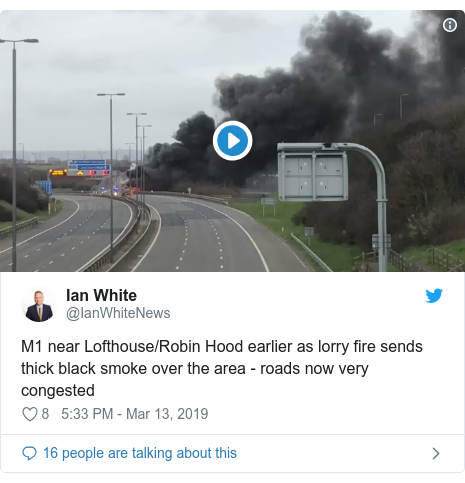 Twitter post by @IanWhiteNews: M1 near Lofthouse/Robin Hood earlier as lorry fire sends thick black smoke over the area - roads now very congested