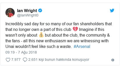 @IanWright0 tarafından yapılan Twitter paylaşımı: Incredibly sad day for so many of our fan shareholders that that no longer own a part of this club 💔 Imagine if this wasn't only about 💰 but about the club, the community & the fans - all this new enthusiasm we are witnessing with Unai wouldn't feel like such a waste.  #Arsenal