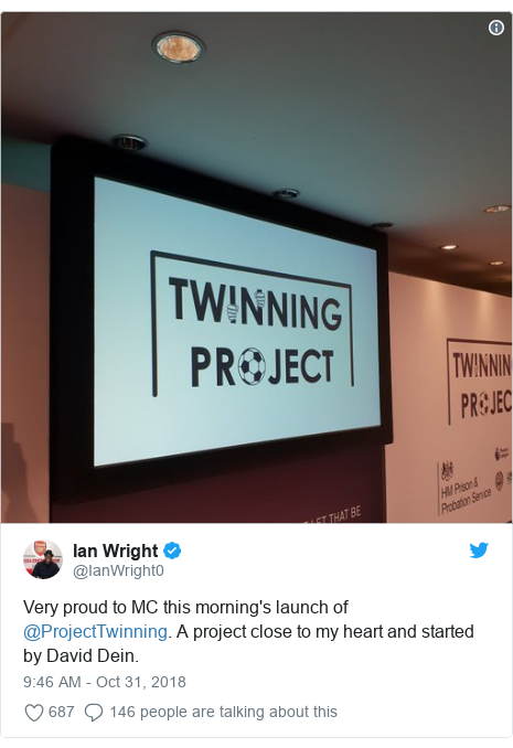 Twitter post by @IanWright0: Very proud to MC this morning's launch of @ProjectTwinning. A project close to my heart and started by David Dein.