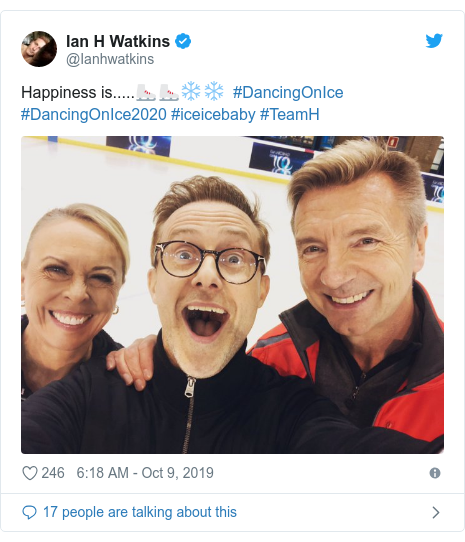 Twitter post by @Ianhwatkins: Happiness is.....⛸⛸❄️❄️  #DancingOnIce #DancingOnIce2020 #iceicebaby #TeamH