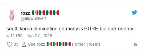 Twitter post by @Iiluwuzivert: south korea eliminating germany is PURE big dick energy