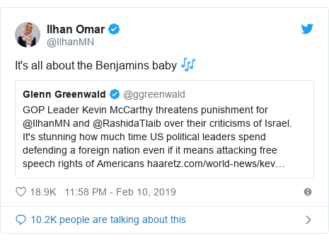 Twitter post by @IlhanMN: It's all about the Benjamins baby 🎶